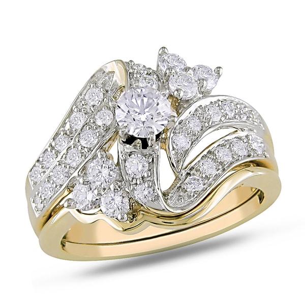 Miadora 14k Yellow Gold 1ct TDW Diamond Bridal Ring Set (H-I, I1-I2)