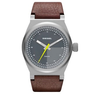 Diesel Men's Grey Dial Brown Leather Strap Dress Watch