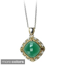 Michael Valitutti Two-tone Chalcedony and Cubic Zirconia Necklace