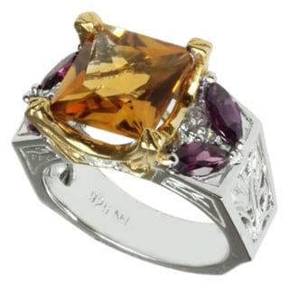 Michael Valitutti Two-tone Citrine, Rhodolite and White Sapphire Ring