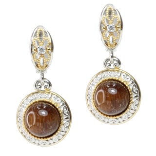 Michael Valitutti Two-tone Cat's Eye and White Sapphire Earrings