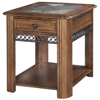 Madison Rustic Warm Nutmeg Storage End Table