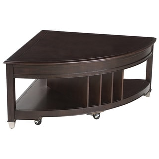Darien Transitional Burnt Umber Shaped Lift Top Coffee Table with Casters