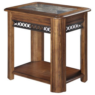Madison Rustic Warm Nutmeg Sliding Top Chairside Accent Table