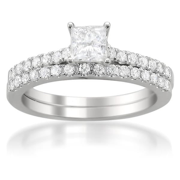 Montebello 14k White Gold 1ct TDW Princess-cut Diamond Bridal Ring Set (G-H, I1)