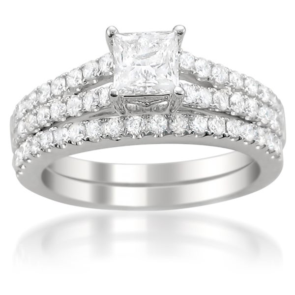 Montebello 14k White Gold 1 1/2ct TDW Diamond Split Shank Bridal Ring Set (G-H, I1-I2)