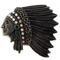 Black-plated Clear Crystal Vintage-style Native American Chief Brooch