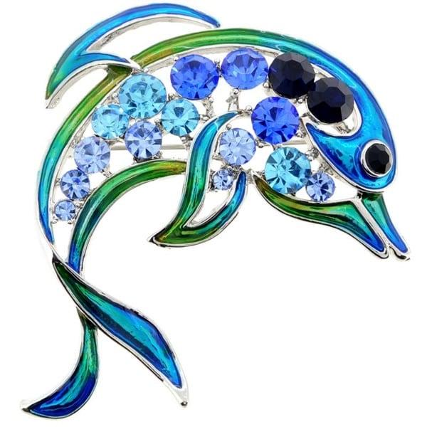 Silvertone Blue Crystal Dolphin Brooch