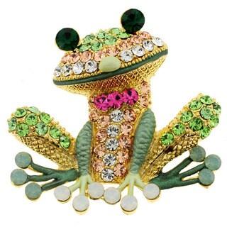 Goldtone Multi-colored Crystal Frog Brooch