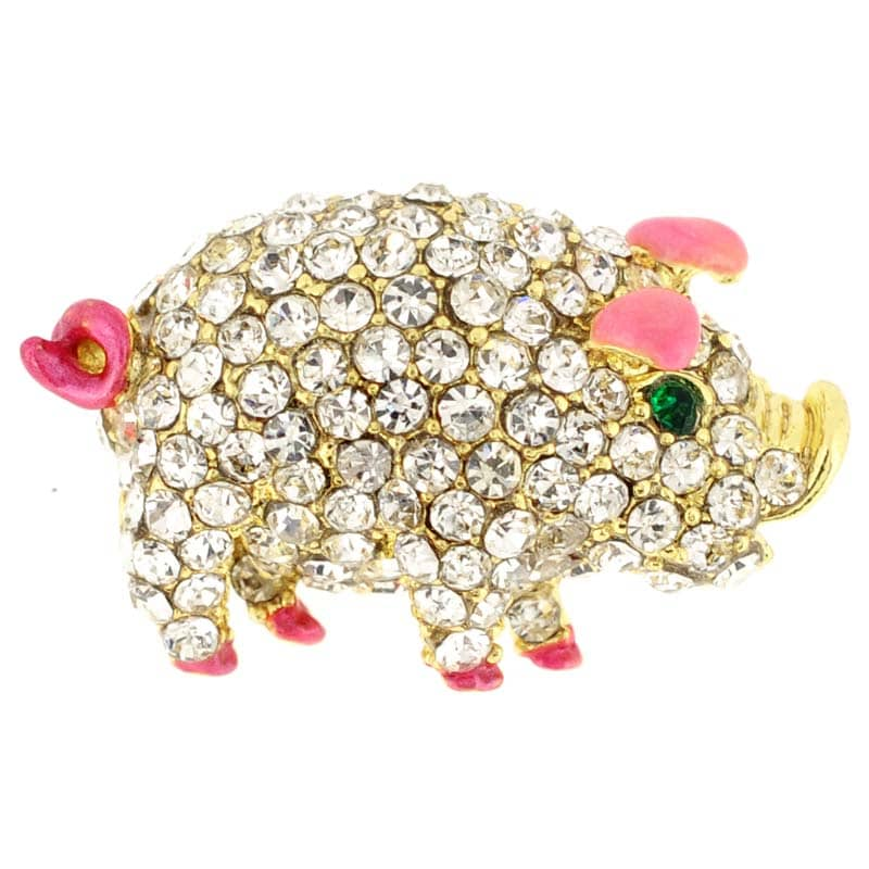 Goldtone Multi-colored Crystal Pig Brooch (pink), Women's