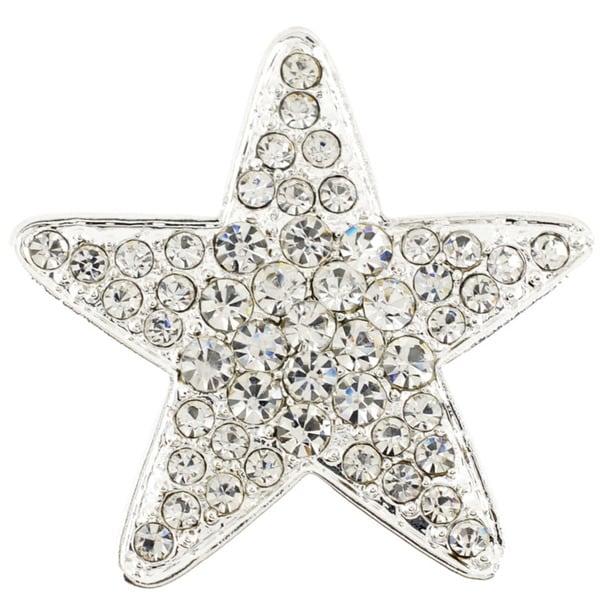 Silvertone Clear Crystal Star Brooch