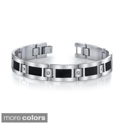 Men's Stainless Steel Cubic Zirconia Accent Bracelet By Ever One
