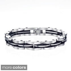 High-Polish Stainless-Steel Men's Black Ion-Plated Link Bracelet By Ever One