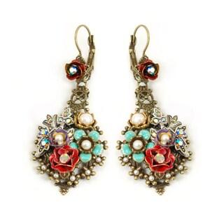 Sweet Romance Goldtone Glass and Enamel Rosarita Earrings