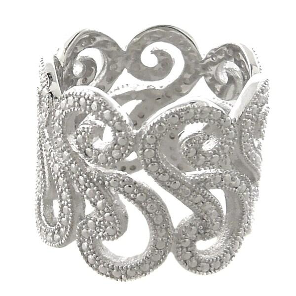 Finesque Silverplated Diamond Accent Swirl Design Wide Band