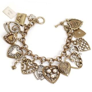 Sweet Romance Heart Locket Victorian Vintage Retro Charm Bracelet