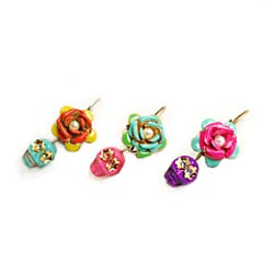 Sweet Romance Sugar Skull and Enamel Rose Day of the Dead Earrings