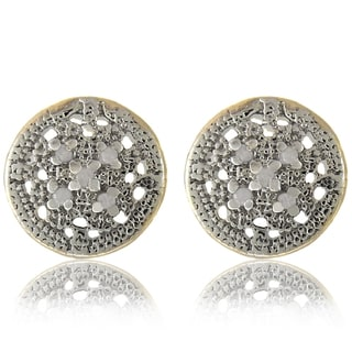 Finesque 18k Gold over Silver 1/10ct TDW Diamond Round Earrings (I-J, I2-I3)