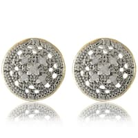 Finesque 18k Gold over Silver 1/10ct TDW Diamond Round Earrings