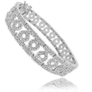 Finesque Silverplated 1ct TDW Diamond Heart Bracelet (I-J, I2-I3)