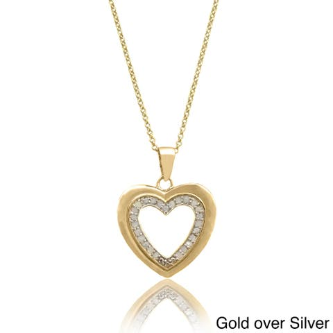 Finesque Sterling Silver 1/4ct TDW Diamond Heart Necklace