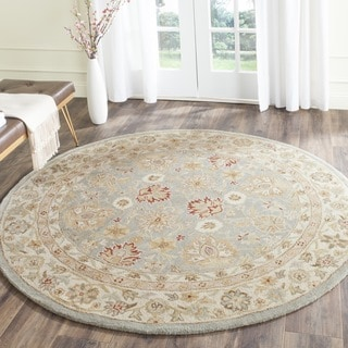 Safavieh Handmade Antiquity Blue-grey/ Beige Wool Rug (3'6 Round)