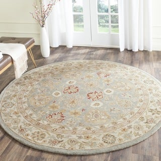 Safavieh Handmade Antiquity Blue-grey/ Beige Wool Rug (6' Round)