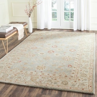 Safavieh Handmade Antiquity Blue-grey/ Beige Wool Rug (7'6 x 9'6)