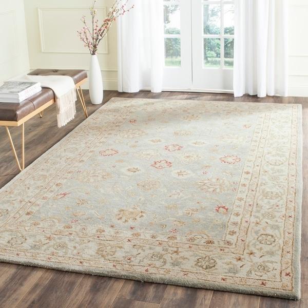 Safavieh Handmade Antiquity Blue-grey/ Beige Wool Rug - 7'6 x 9'6
