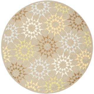 Martha Stewart Quilt Opal/ Grey Cotton Rug (6'x 6' Round)