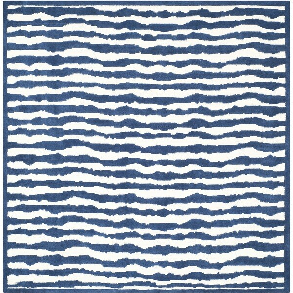 Safavieh Handmade Children's Stripes Ivory/ Blue Cotton Rug - 6' x 6' Square