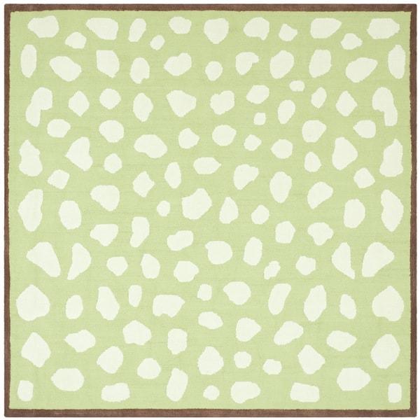 Safavieh Handmade Children's Safari Green/ Ivory Cotton Rug - 6' x 6' Square