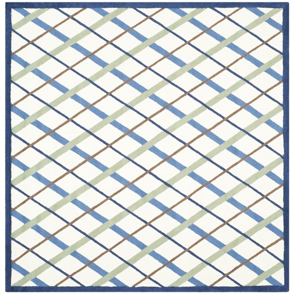 Safavieh Handmade Children's Diamonds Ivory/ Blue Cotton Rug - 6' x 6' Square