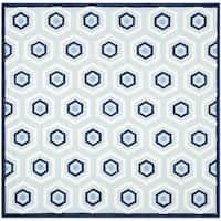 Safavieh Handmade Children's Hexagon Light Blue Cotton Rug - 6' x 6' Square
