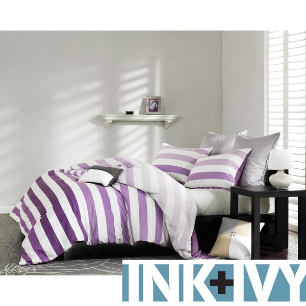 Ink+Ivy Peyton Purple 3-piece Mini Duvet Cover Set