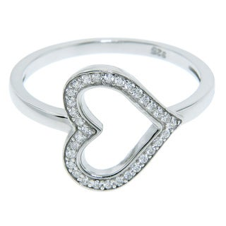Eternally Haute Sterling Silver Pave Cubic Zirconia Heart Ring