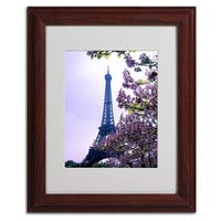 Kathy Yates 'Eiffel Tower with Blossoms' Vertical Framed Matted Art