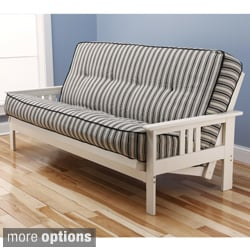 Somette Beli Mont Multi-Flex Antique White Wood Futon Frame with Innerspring Mattress Set