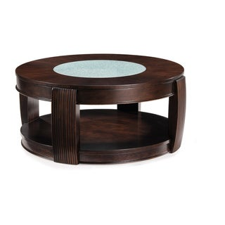'Ino' Wood and Glass Round Cocktail Table