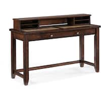 Allister Rustic Cinnamon Wood Console Table Desk and Storage Hutch