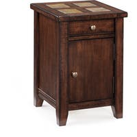 Allister Rustic Cinnamon Square Storage Accent Table With Slate Top