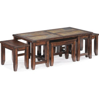 Allister Rustic Cinnamon 5-piece Coffee Table and Stools Set