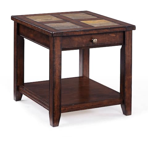 Allister Rustic Cinnamon Rectangular Storage End Table With Slate Top