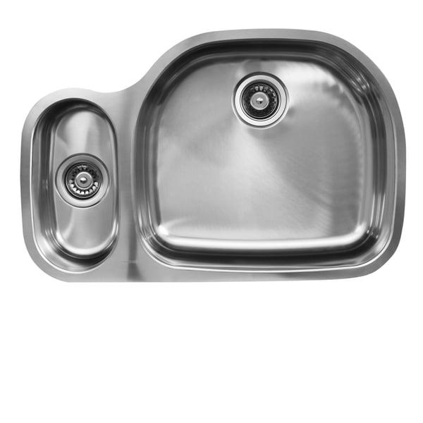 Ukinox D537.80.20.10R 80/20 Double Basin Stainless Steel Undermount Kitchen Sink
