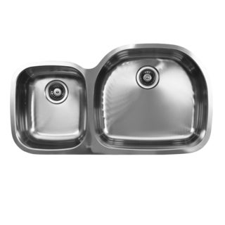Ukinox D537.60.40.10R 60/40 Double Basin Stainless Steel Undermount Kitchen Sink