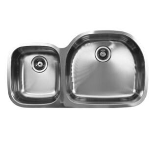 Ukinox D537.60.40.10R 60/40 Double Basin Stainless Steel Undermount Kitchen Sink