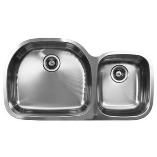 Ukinox D537.60.40.10L 60/40 Double Basin Stainless Steel Undermount Kitchen Sink