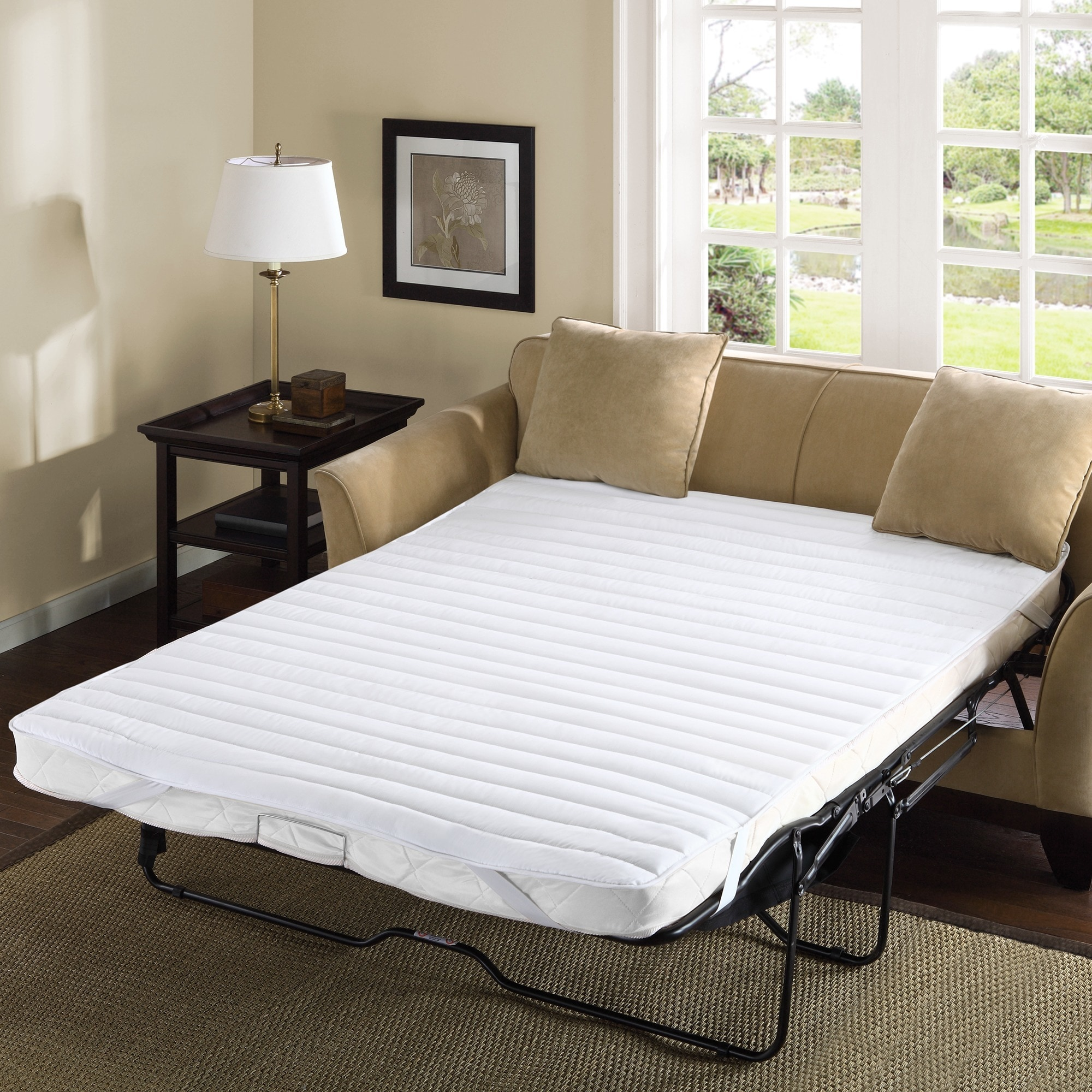 Madison Park Essentials Delta Waterproof Quilted Microfiber Sofa Bed Pad White