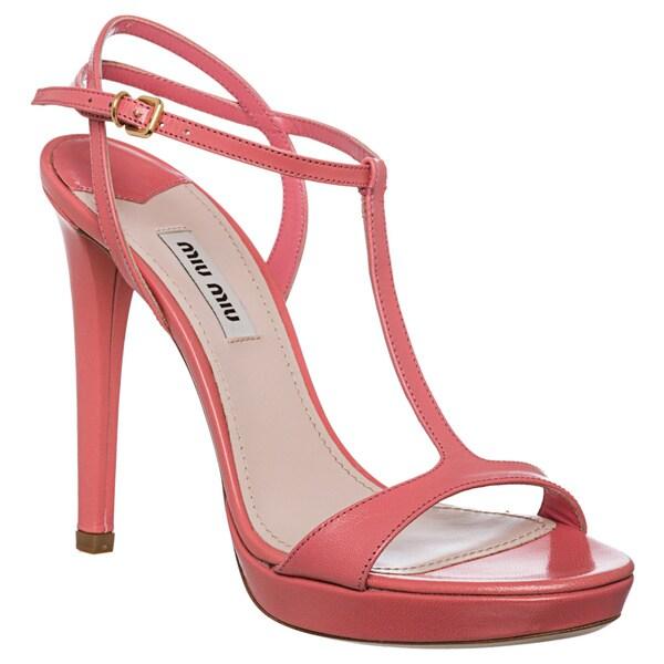 Miu Miu Women's T-strap Leather Sandals