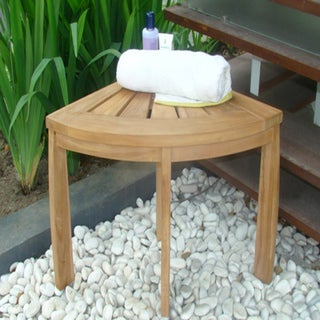 Shop Teak Corner Shower Bench Free Shipping Today